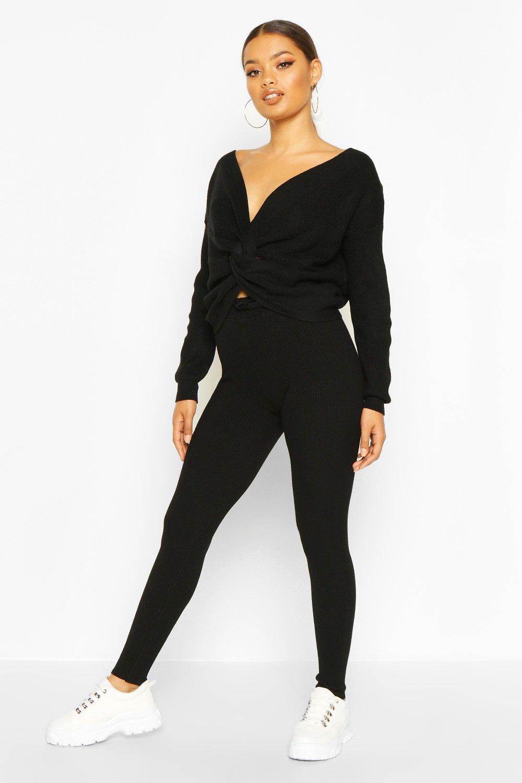 Womens Twist Front Rib Knit Lounge Set - black - S/M, Black - Boohoo.com