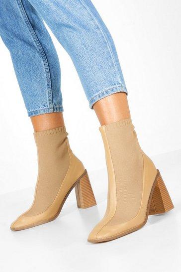 Nude Knit Panel Block Heel Sock Boots