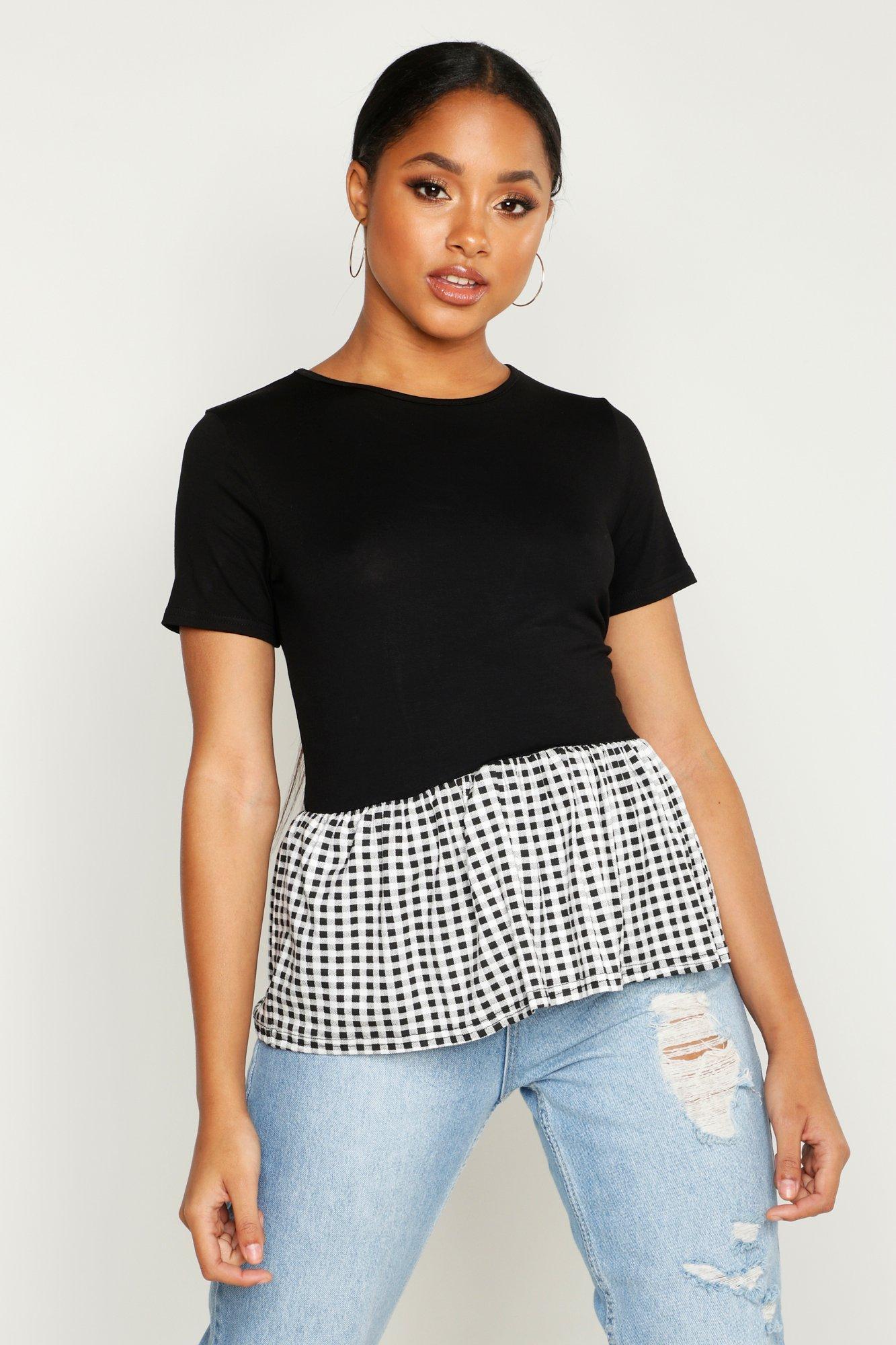 Womens T-Shirt mit Schößchen und Vichy-Karos - schwarz - 32, Schwarz - Boohoo.com