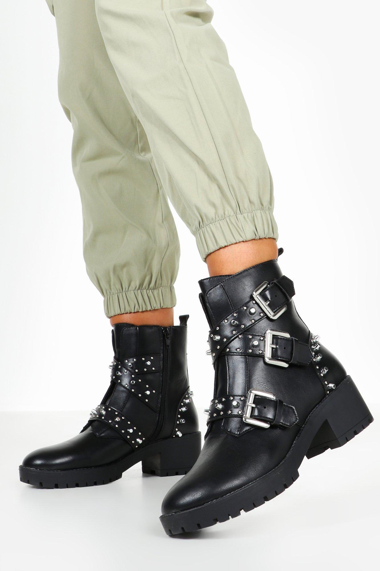 boohoo Womens Studded Chunky Hiker Boots - Black - 6, Black