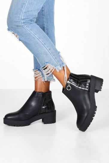 Black Croc Back Chunky Chelsea Boots