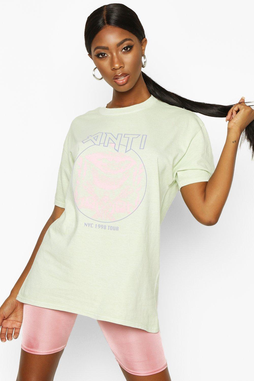 Womens Pastellfarbenes T-Shirt mit Waschung und Grafik - Verwaschenes Limettengrün - S, Verwaschenes Limettengrün - Boohoo.com