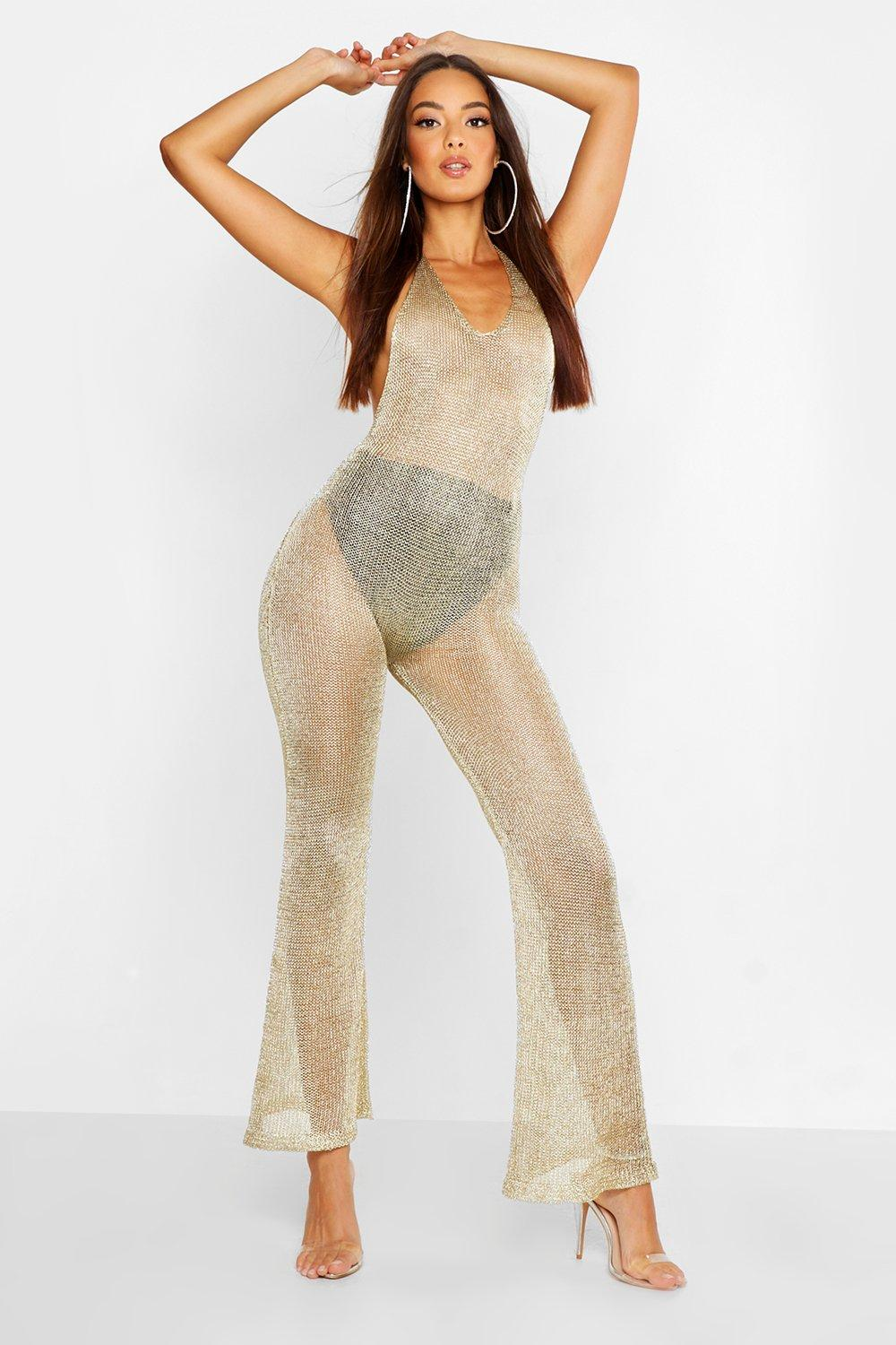 Womens Neckholder-Jumpsuit aus Strick in Metallic-Optik - Gold - L, Gold - Boohoo.com