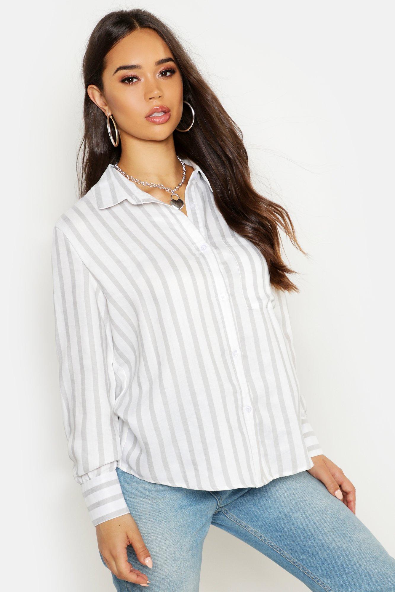 Womens Gestreiftes Oversized-Hemd in Leinen-Optik - grau - 34, Grau - Boohoo.com