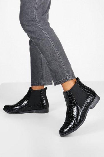 Black Wide Fit Croc Chelsea Boots