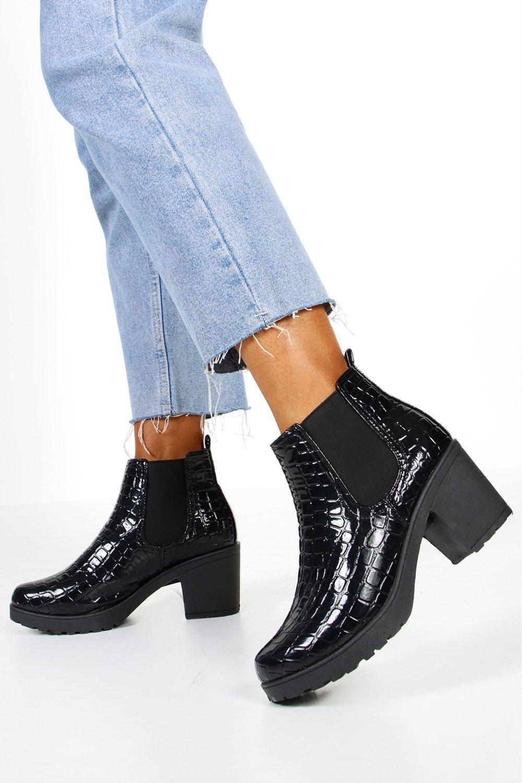 boohoo Womens Croc Patent Chunky Chelsea Boots - Black - 4, Black