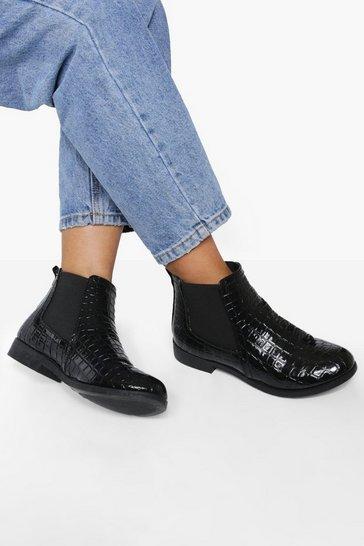 Black Patent Croc Chelsea Boots
