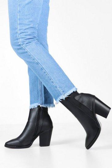 Black Elastic Panel Western Boots