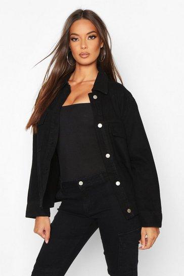Black Pocket Denim Jacket