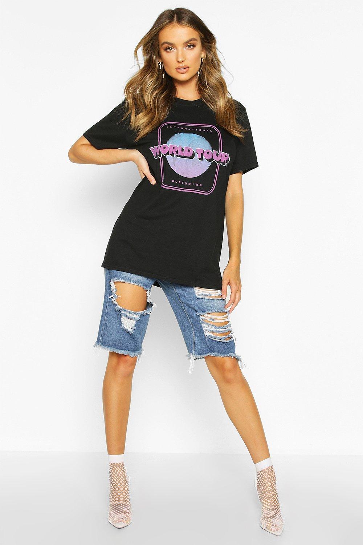 """Womens T-Shirt mit Slogan """"World Tour"""" - schwarz - S, Schwarz - Boohoo.com"""