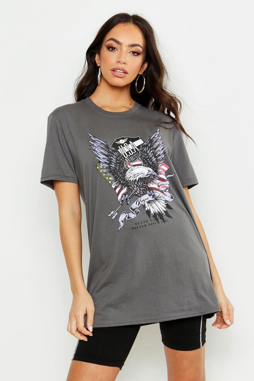 "Womens T-Shirt mit Slogan ""USA Eagle"" - anthrazit - S, Anthrazit - Boohoo.com"