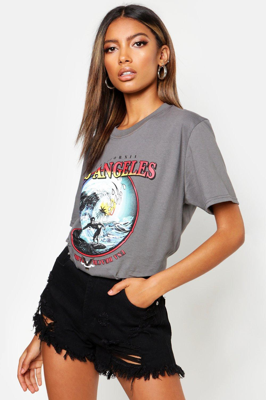 "Womens Surf T-Shirt mit Slogan ""Los Angeles"" - anthrazit - S, Anthrazit - Boohoo.com"