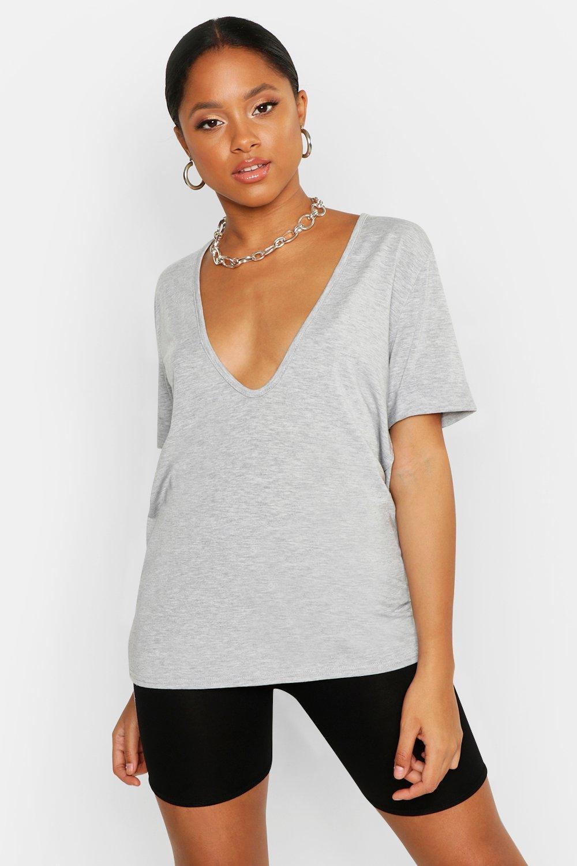 Womens T-Shirt mit tiefem Ausschnitt - Grau meliert - 34, Grau Meliert - Boohoo.com