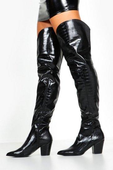 Black Croc Thigh High Western Boots