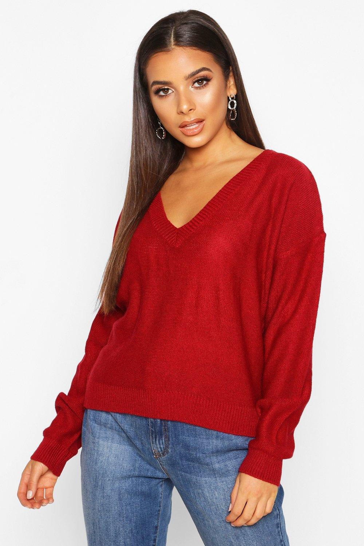 Womens Boxy-Pullover mit V-Ausschnitt - rot - S, Rot - Boohoo.com