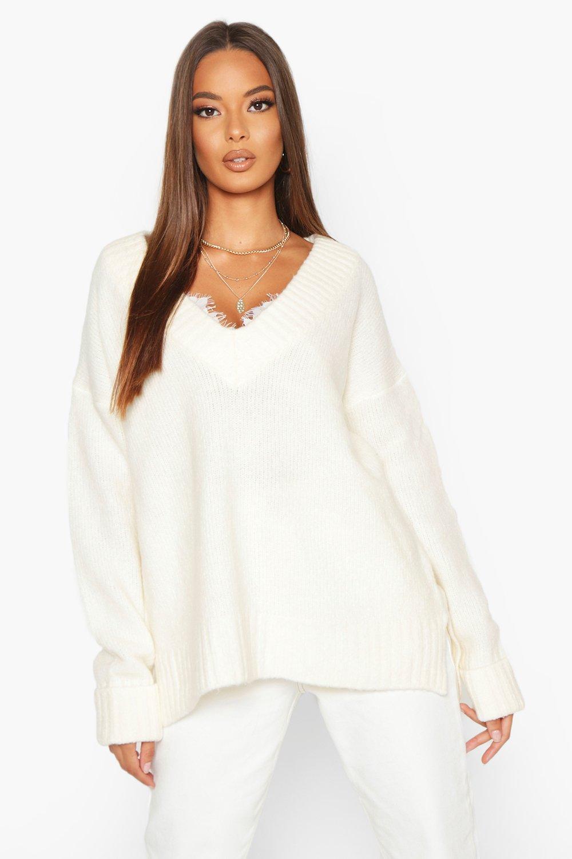 Womens Flauschiger Pullover mit V-Ausschnitt und umgeschlagenem Bund - elfenbeinfarben - S, Elfenbeinfarben - Boohoo.com