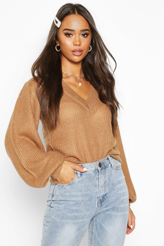 Womens Pullover mit Ballonärmeln und V-Ausschnitt - kamelhaarfarben - S, Kamelhaarfarben - Boohoo.com