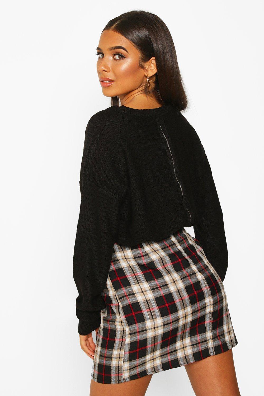 Womens Pullover mit Reißverschluss hinten - schwarz - S, Schwarz - Boohoo.com