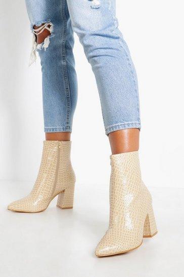Ecru Extra Wide Fit Croc Sock Boots