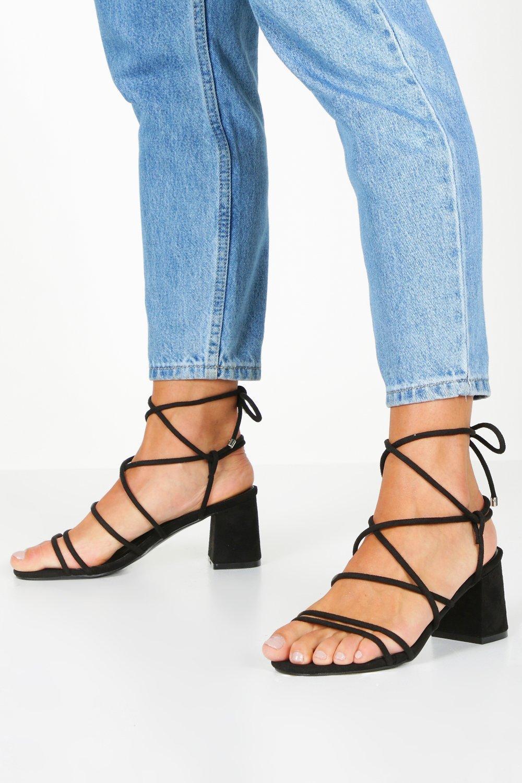 Mid Heel Shoes Extra Wide Fit Wrap Block Heels