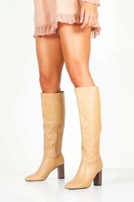 boohoo Womens Block Heel Knee Boots - Beige - 6, Beige
