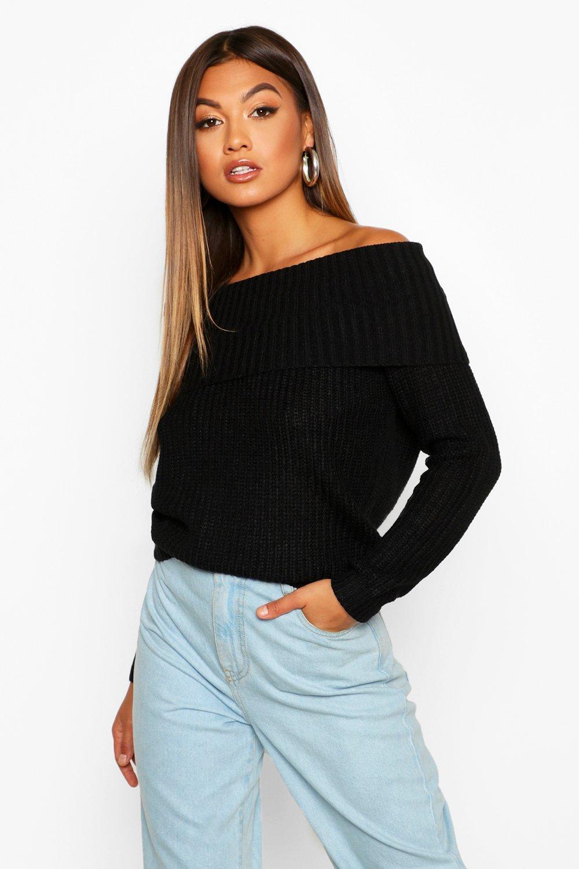 Womens Rippstrick-Pullover mit Bardot-Ausschnitt - schwarz - S, Schwarz - Boohoo.com