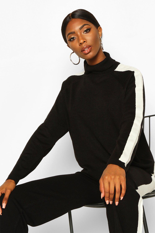 Womens Pullover mit Rollkragen und Streifendetail - schwarz - S, Schwarz - Boohoo.com