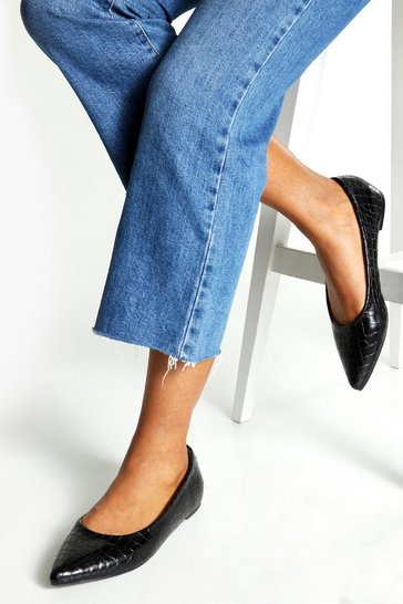 Black Pointed Toe Ballet Flats