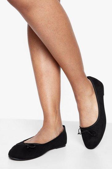 Black Round Toe Ballet Flats