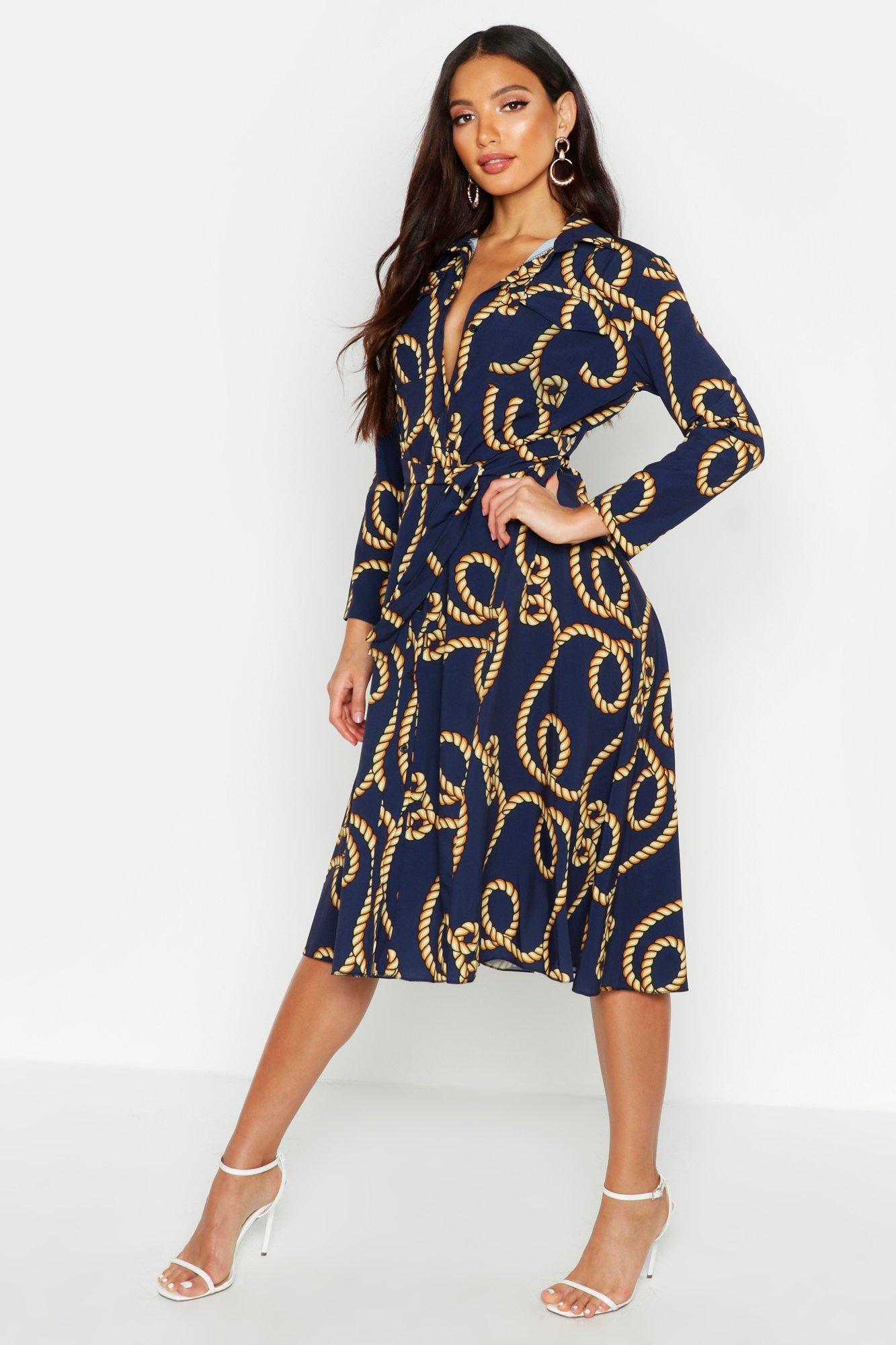 Womens Blusenkleid mit Seil-Print und Gürtel - marineblau - 34, Marineblau - Boohoo.com