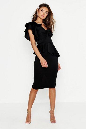 Black One Shoulder Twist Front Peplum Midi Dress