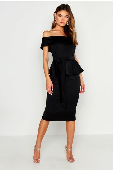 Black Off The Shoulder Peplum Midi Dress
