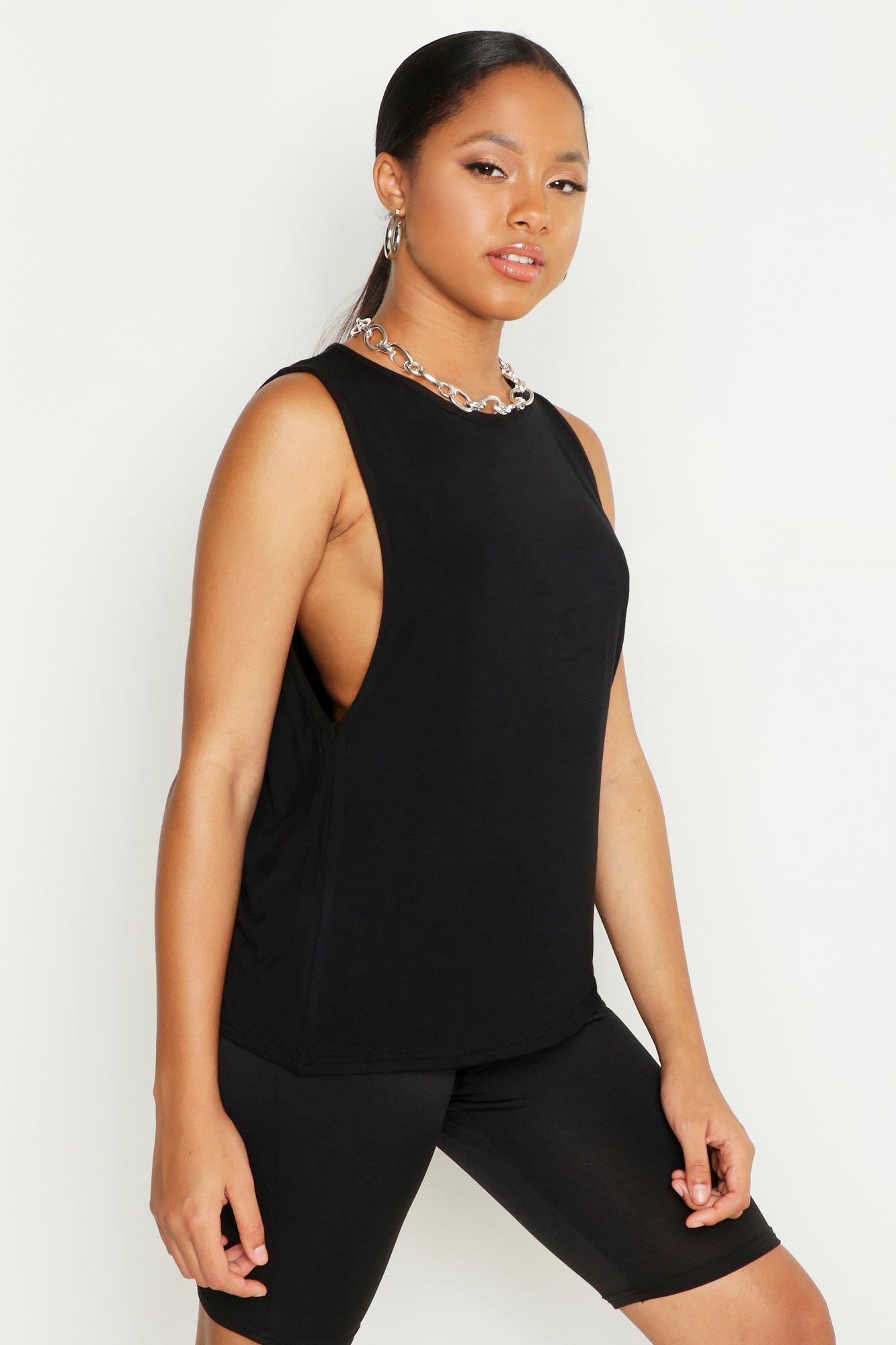 Womens vest Top mit extrem tiefen Armausschnitten - schwarz - 38, Schwarz - Boohoo.com