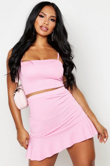 Hot pink Strappy Crop Top & Skater Mini Skirt Co-Ord Set