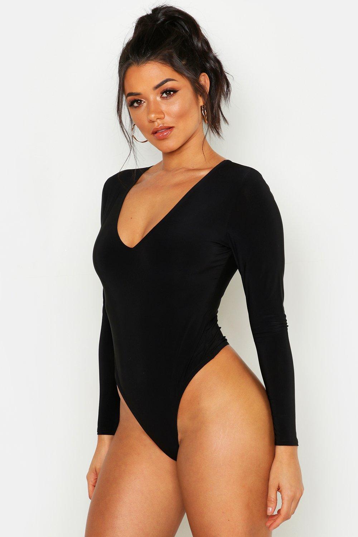 Womens Doppellagiger Body aus glänzendem Jersey mit tiefem Ausschnitt - schwarz - 34, Schwarz - Boohoo.com