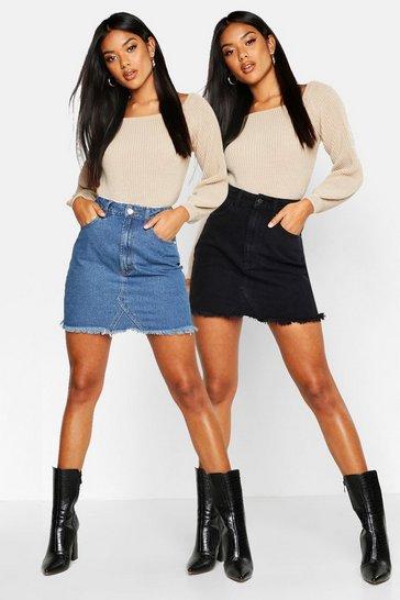 Black 2 Pack High Waist Denim Mini Skirt