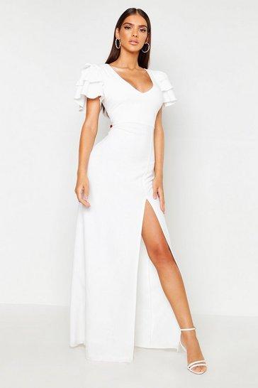 Ivory Plunge Ruffle Sleeve Maxi Bridesmaid Dress