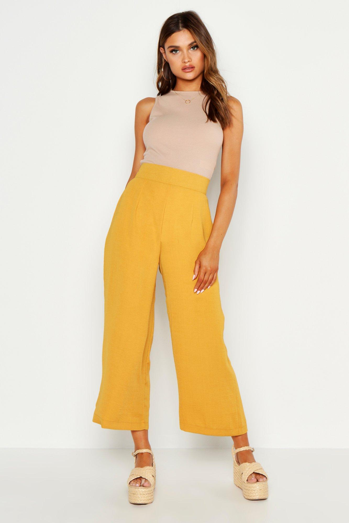 boohoo Woven Wide Leg Culottes, Mustard