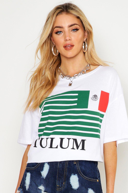 Womens Oversized T-Shirt mit Tulum-Flagge - Weiß - S, Weiß - Boohoo.com