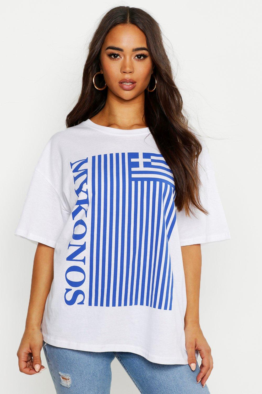 Womens Oversized T-Shirt mit Mykonos-Flagge - Weiß - M, Weiß - Boohoo.com