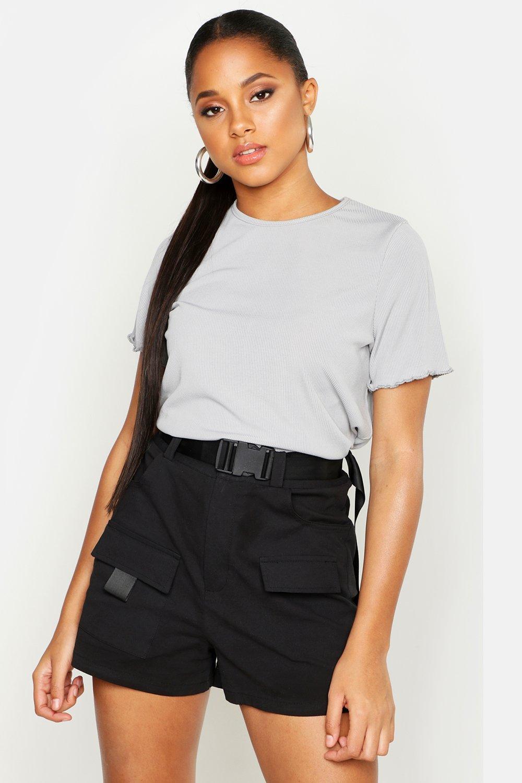 Womens Geripptes T-Shirt mit gekräuseltem Saum - grau - 32, Grau - Boohoo.com