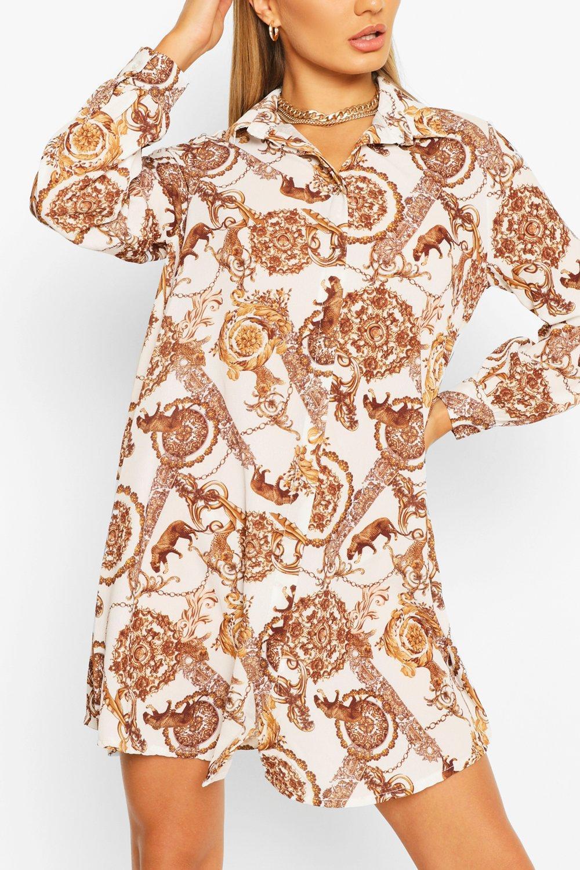 Womens Blusenkleid mit Barockmuster - Weiß - 34, Weiß - Boohoo.com