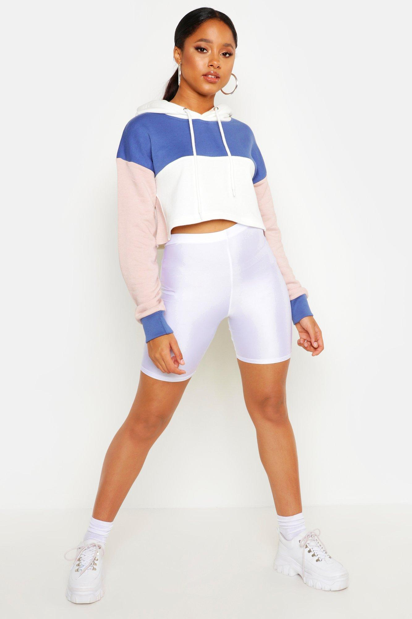 Womens Cropped Colorblock-Hoodie - blue - 38, Blue - Boohoo.com