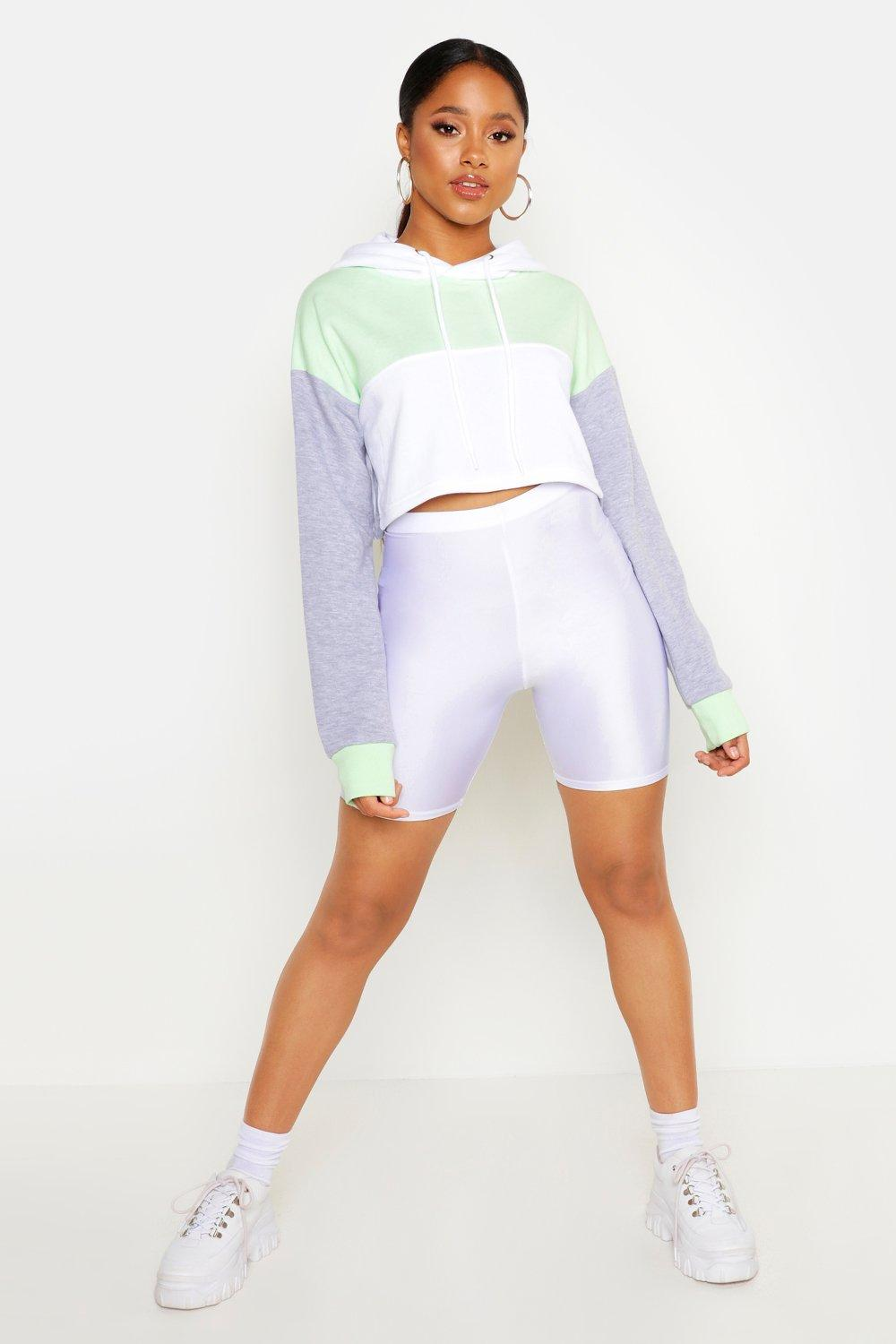 Womens Cropped Colorblock-Hoodie - lime - 38, Lime - Boohoo.com