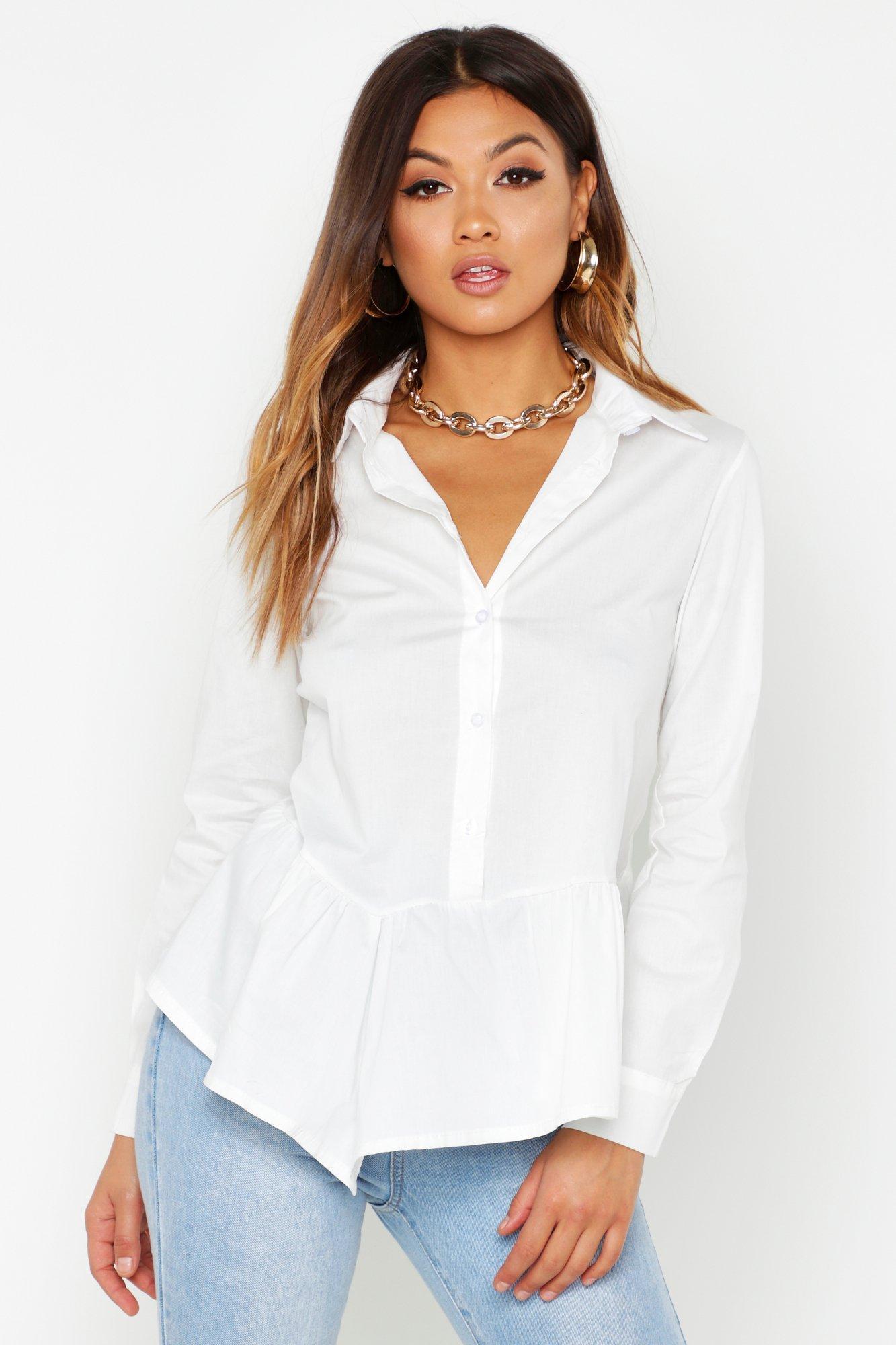 Womens Hemd mit Schößchen - Weiß - 36, Weiß - Boohoo.com