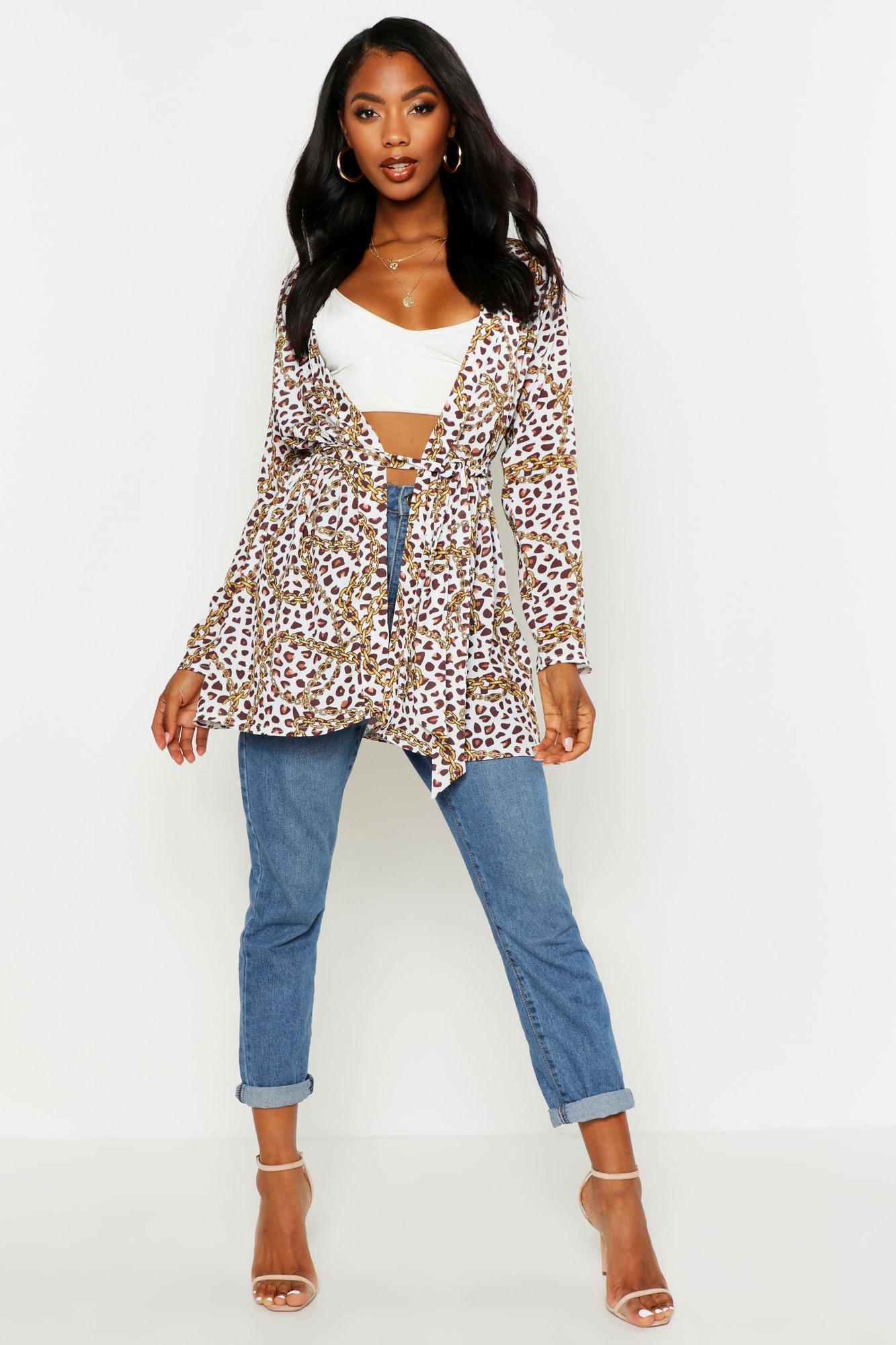 Womens Web-Kimono mit Kettengürte und Leopardenmuster - Weiß - 32, Weiß - Boohoo.com