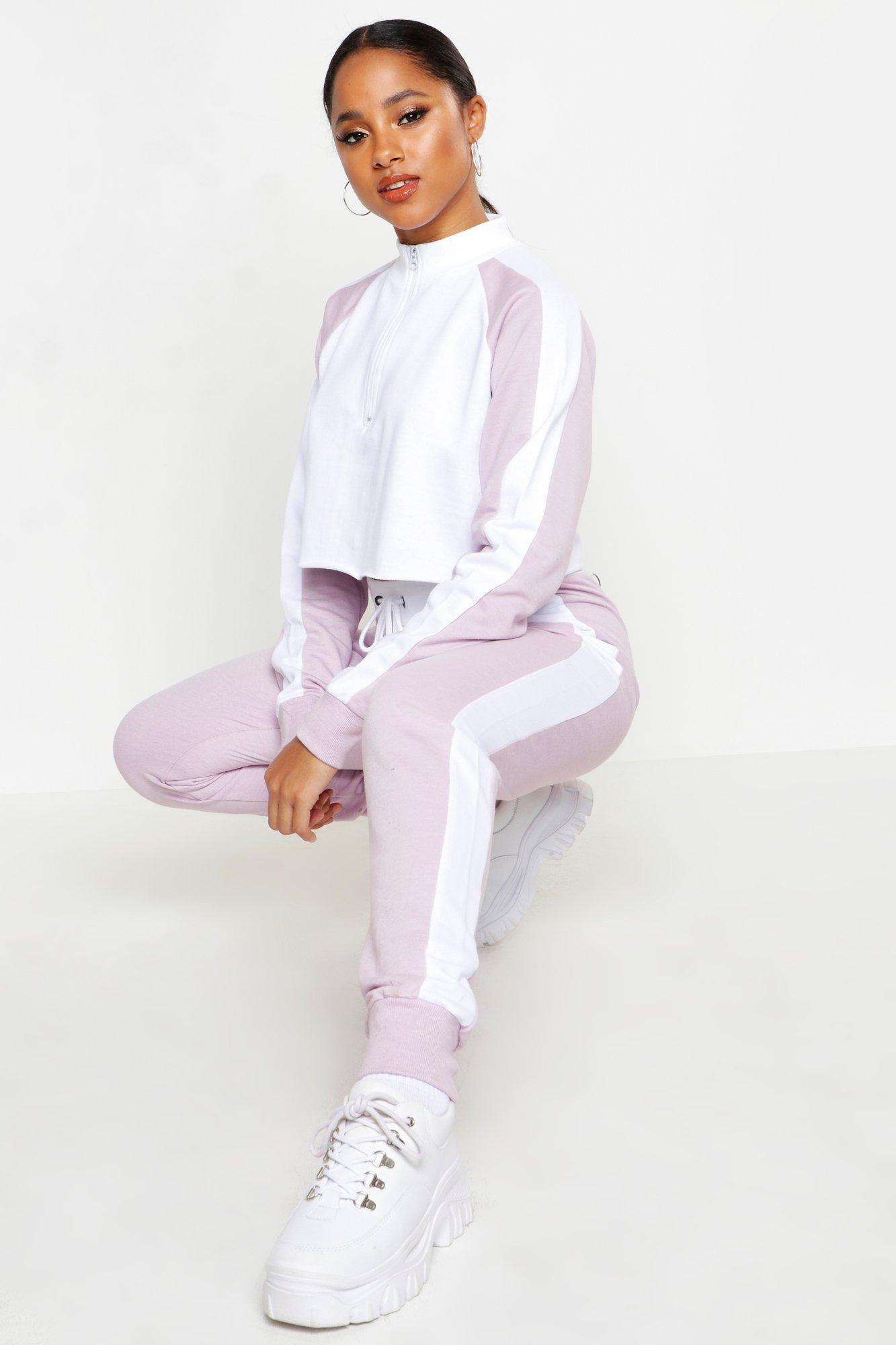 Womens Colorblock-Trainingsanzug mit Reißverschluss-Detail - Flieder - 34, Flieder - Boohoo.com
