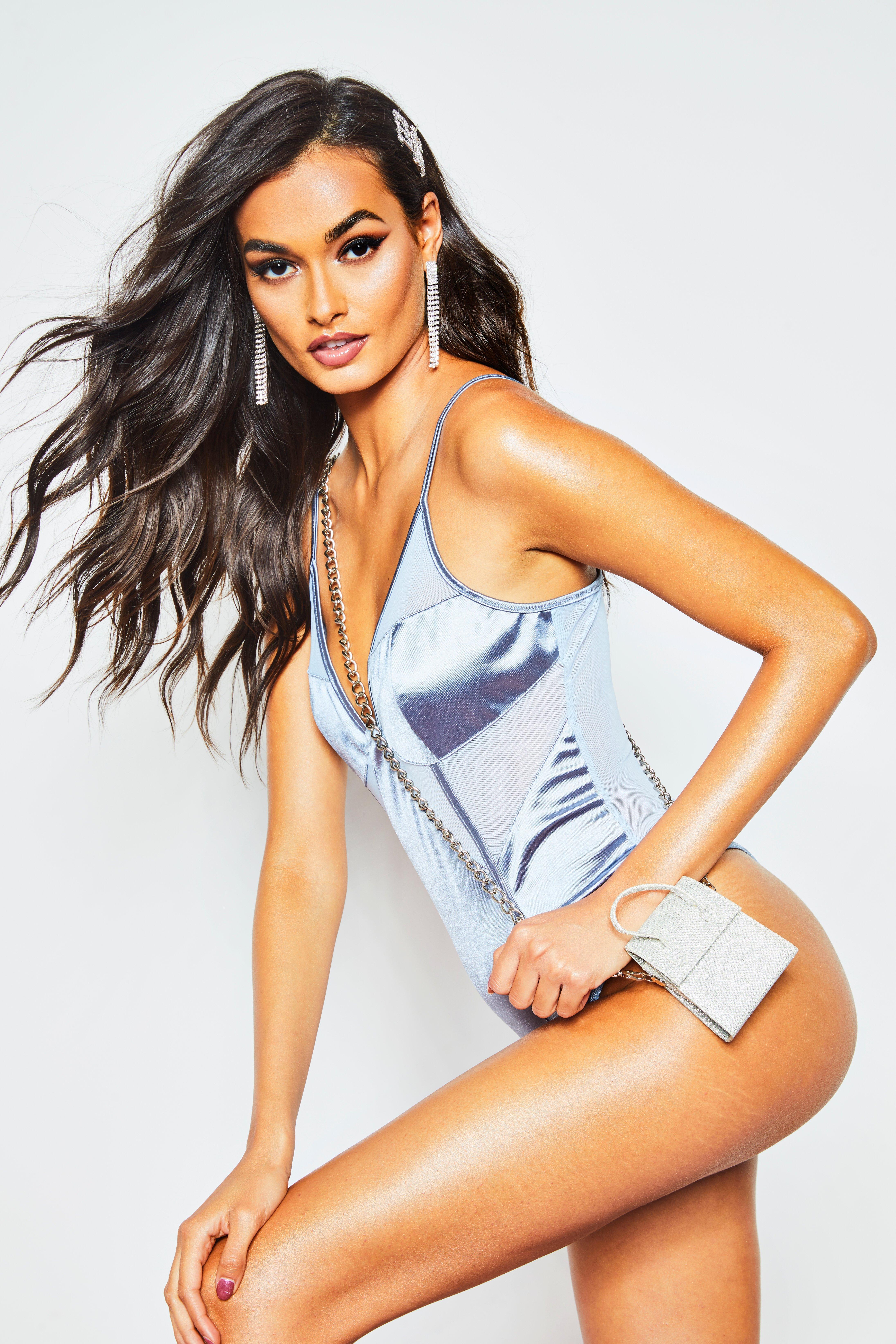 Womens Body aus Satin und Mesh - grau - 32, Grau - Boohoo.com