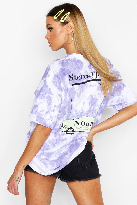 Womens Stereotypisches T-Shirt in Batik-Optik mit Grafik - Flieder - S, Flieder - Boohoo.com