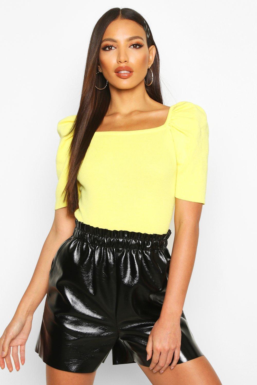 Womens Strickoberteil mit Karree-Ausschnitt und Puffärmeln - gelb - One Size, Gelb - Boohoo.com